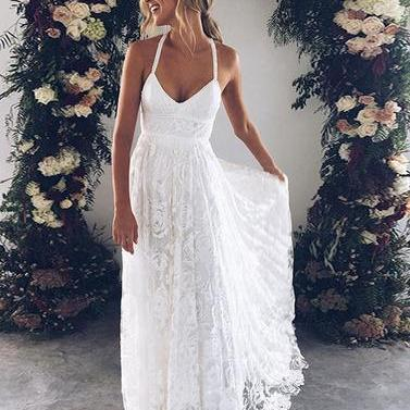 White v neck lace long prom dress, ..