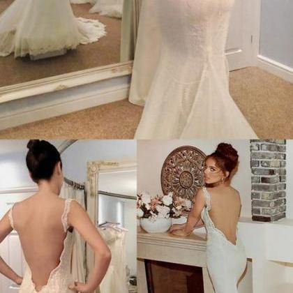 Mermaid Backless Straps Court Train..