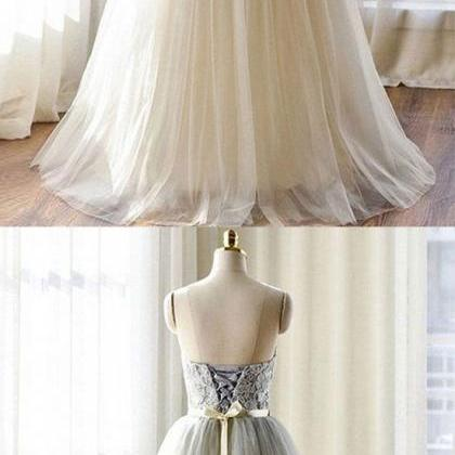 Gray lace tulle long prom dress, la..