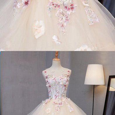 light champagne tulle A-line long w..