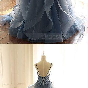 Gray blue tulle lace long prom dres..