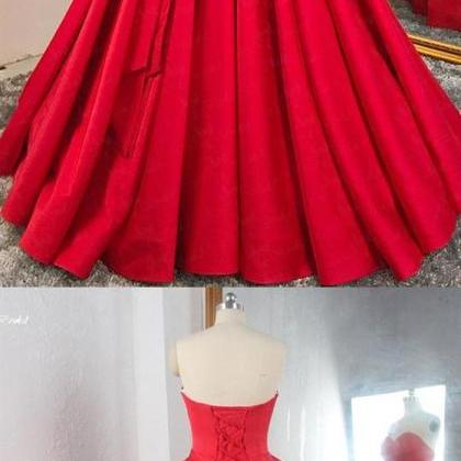 Red Sweetheart Sleeveless Long Prom..