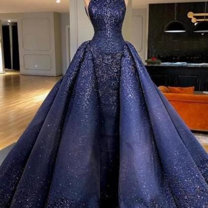 Royal Blue Sparkly Bead Ball Gown G..