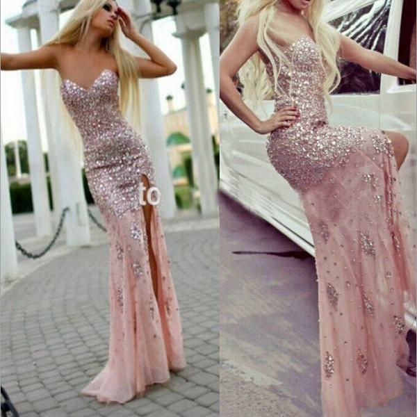 Stunning Prom Dress Pink Prom Gowns Long Evening Gowns For Teens On