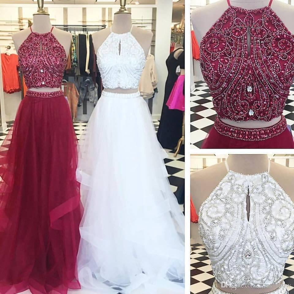 Stunning Prom Dress 2 Pieces Prom Gowns Long Evening Gowns For Teens ...