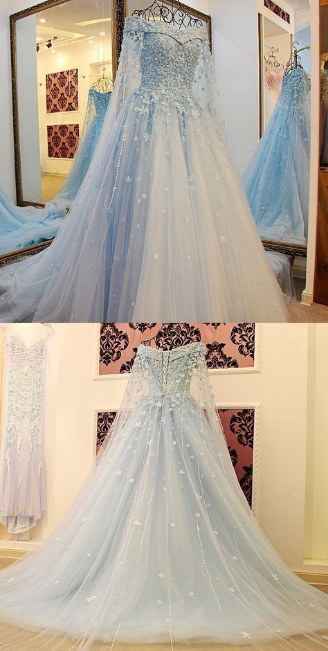 79a2d5ee85e1 Light Blue Tulle Ball Gowns Prom Dresses Lace Appliques Off Shoulder M0010