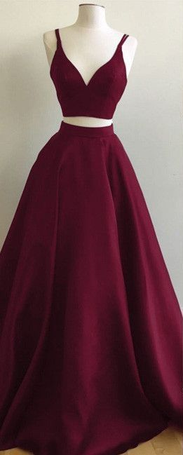 819ed3773d Burgundy Two-Piece Prom Dresses Straps Sleeveless Puffy A-line Evening  Gowns