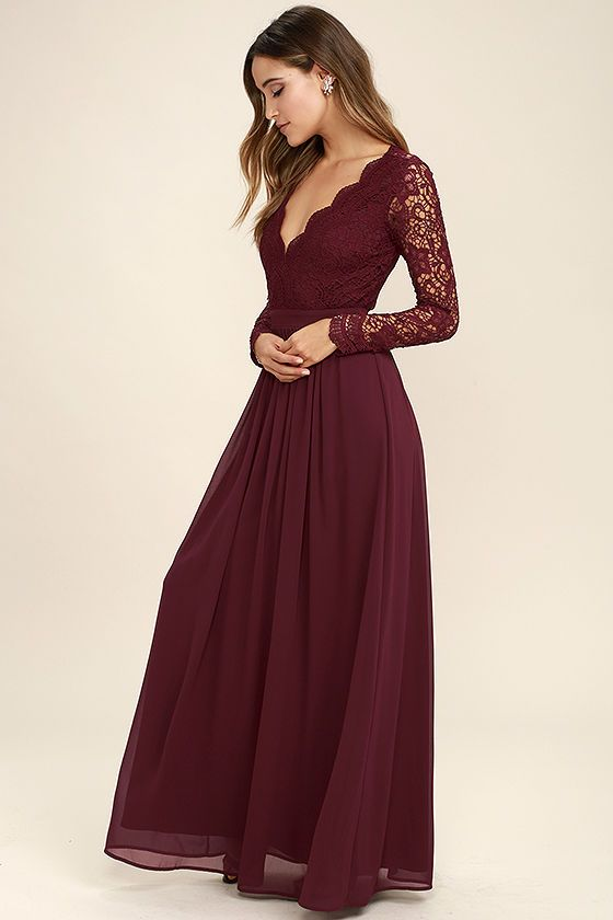 Burgundy Long Sleeve Lace Dress M000155 On Luulla
