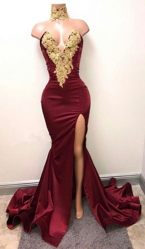 Gorgeous Burgundy Mermaid Prom Dresses Gold Lace Appliques Side Slit  Evening Gowns M000171