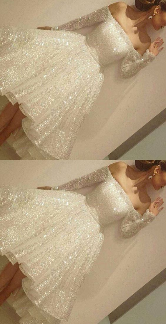Off the shoulder Long Sleeve Prom Dress Short M0261