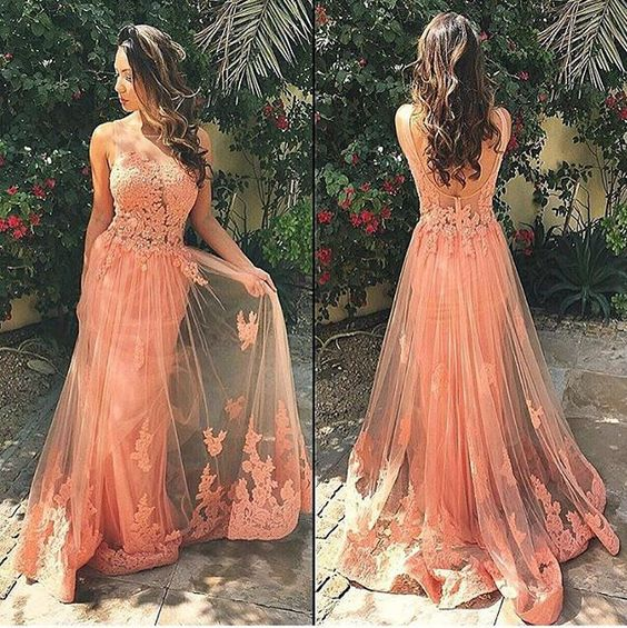 Lace Prom Dresses,Long Prom Dress,Dresses For Prom,Coral Prom Dress,Charming Party Dress, M0335