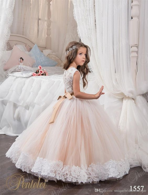 0c9daa639 2018 Cheap Ball Gown Flower Girl Dresses Jewel Lace Appliques ...