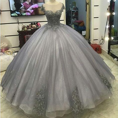 Glitter Grey Silver Ball Gown Princess Prom Dresses Lace Appliqued ...