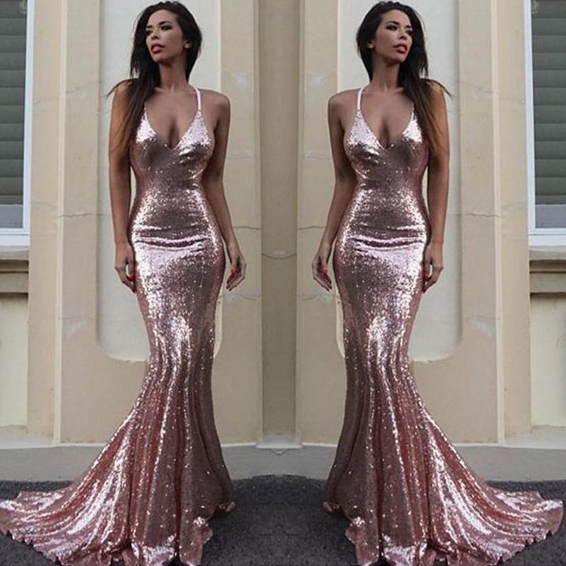 f3085a43fb Sexy Backless Rose Gold Sequin Mermaid Evening Prom Dresses