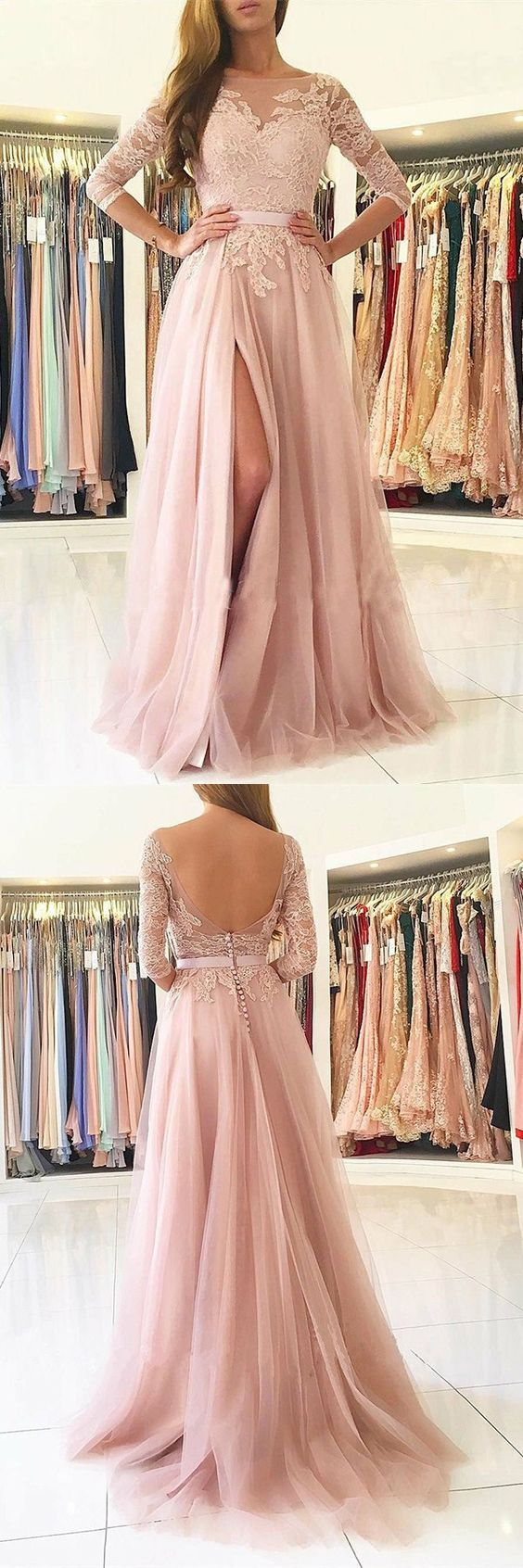 A-Line Bateau Long Sleeves Sweep Train Pink Tulle Prom Dress with Appliques M1595