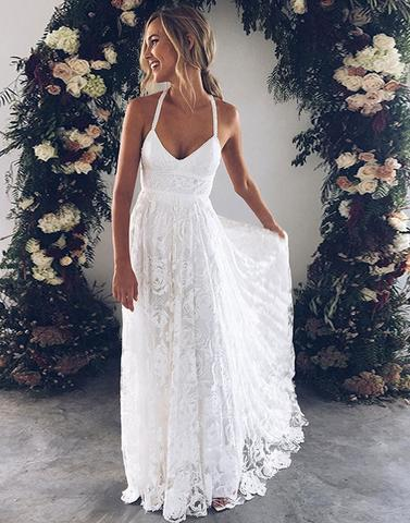 White v neck lace long prom dress, white evening dress wedding dress charming bridal dresses M1879