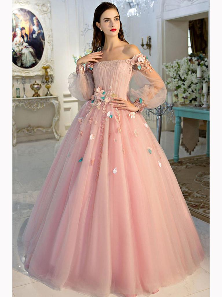CHIC A-LINE PINK PROM DRESS,OFF-THE-SHOULDER TULLE APPLIQUE LONG ...