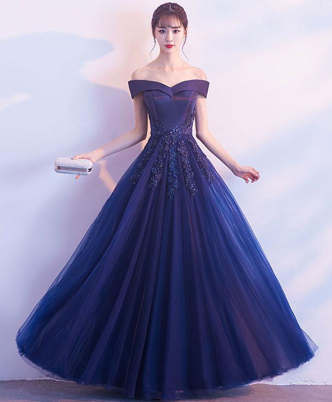 Dark Blue Off Shoulder Long Prom Dress, Blue Evening Dress M2021 on ...