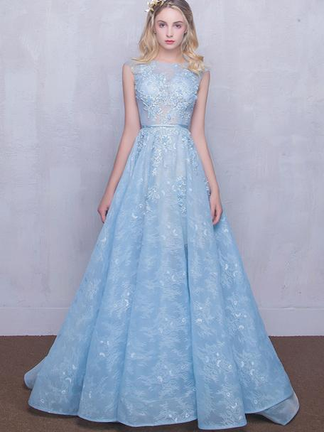 Long Lace Prom Dresses Scoop Appliques Baby Blue Prom Dress Evening Dress  M2090 bc3d5811c