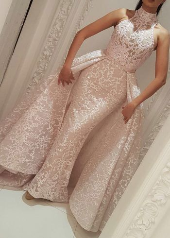 57d951a1768 Evening Formal Dresses Yousef Aljasmi High Neck Detachable Over Skirt 2018  Lace Dubai Arabic Mermaid Occasion Prom Dress See Through M2150