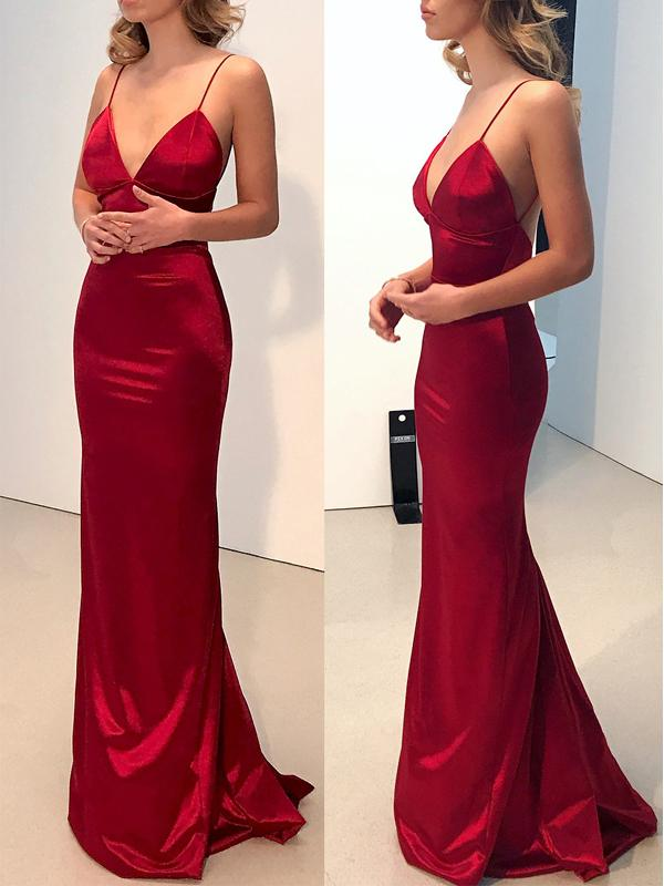Simple Backless Dark Red Mermaid Long Evening Prom Dresses M2157 On