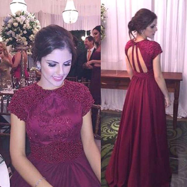33136b9e00a45 Modest Burgundy Prom Dress, Sexy Beading A-Line Prom Dress, Short Sleeves  Long Formal Dress M2347