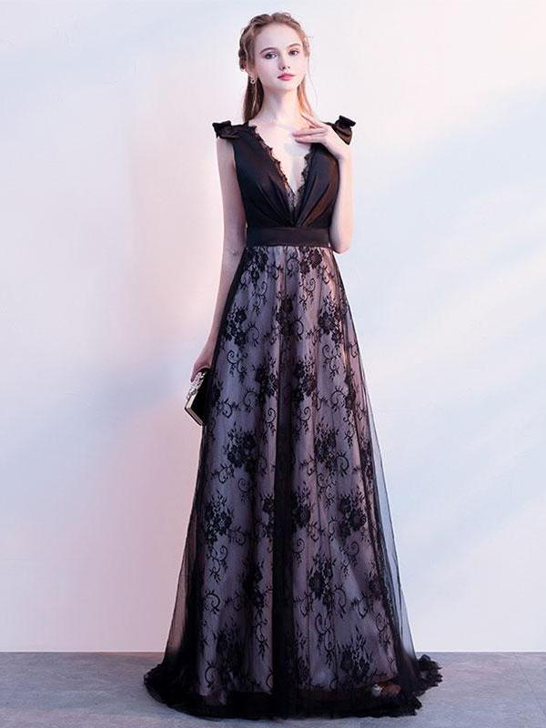 Floor Length Purple Dresses with Lace