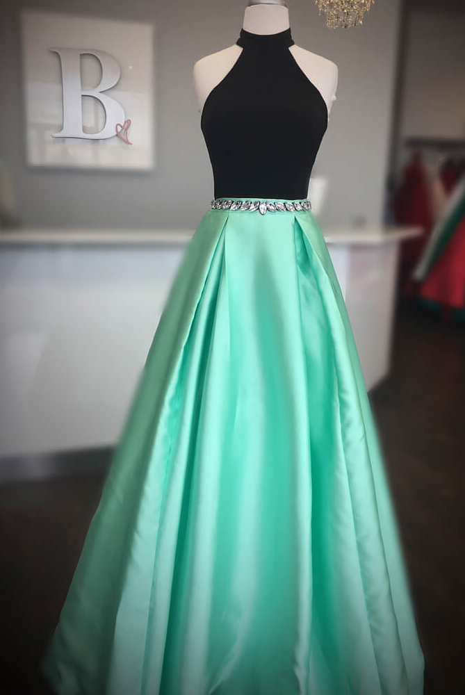 8a7b3cc10a75 Elegant High Neck Two Piece Black and Mint Green Long Prom Dress M2557