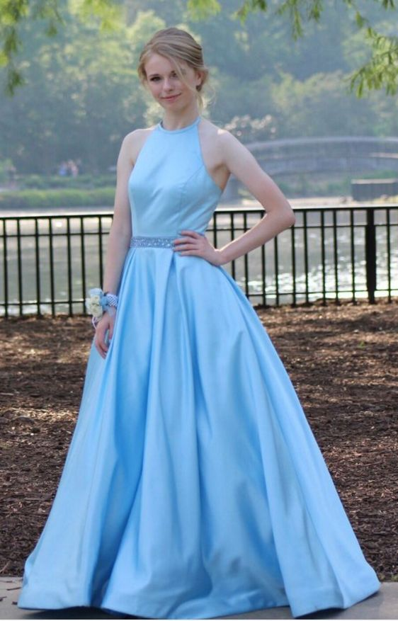 2252b265572 Baby Blue Ball Gown Satin Prom Dresses Crew Neck Beading Crystal Prom Dress  Party Dress Formal