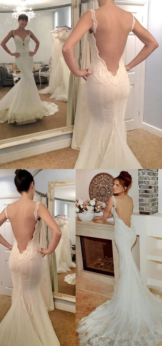 Mermaid Backless Straps Court Train Wedding Dress with Lace Appliques M3085