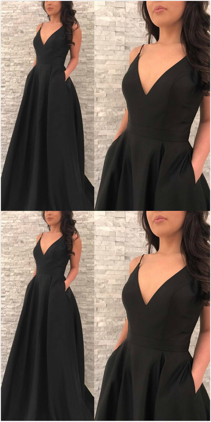 Black Prom Dresscheap Prom Dressv Neck Prom Dresslong Prom Dress