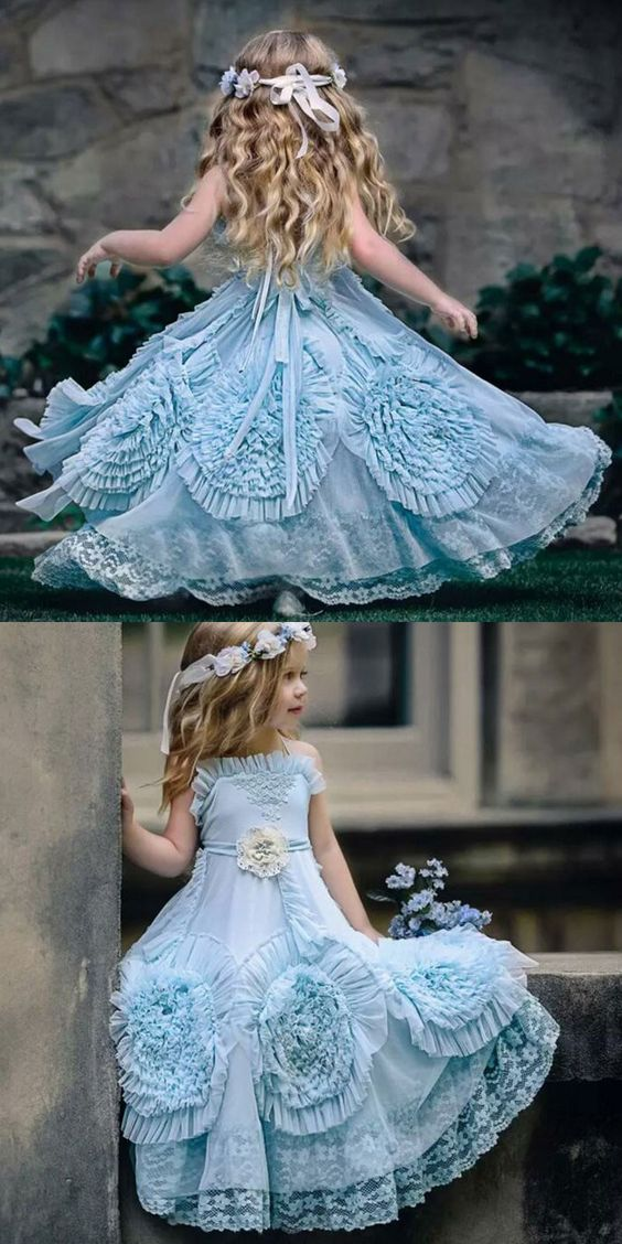 A-Line Spaghetti Straps Flower girl Dresses with Flowers Lace M3319