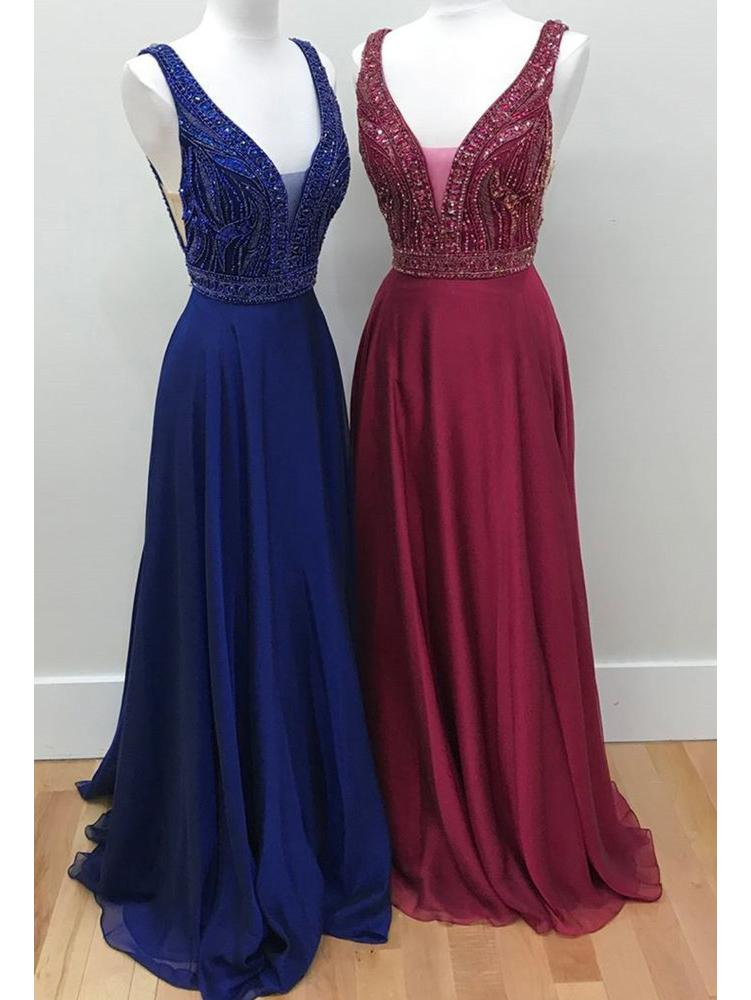 Long Chiffon V Neck Burgundy Prom Dresses Juniors Backless Beaded Formal  Dresses Plus Size M3418