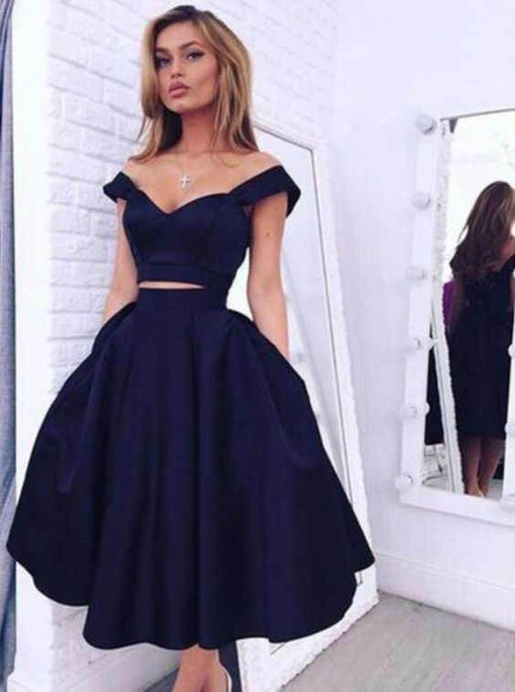 Elegant Off-the-shoulder Two-piece Tea-Length Navy Homecoming Dress M3428 e59d7c1582f5