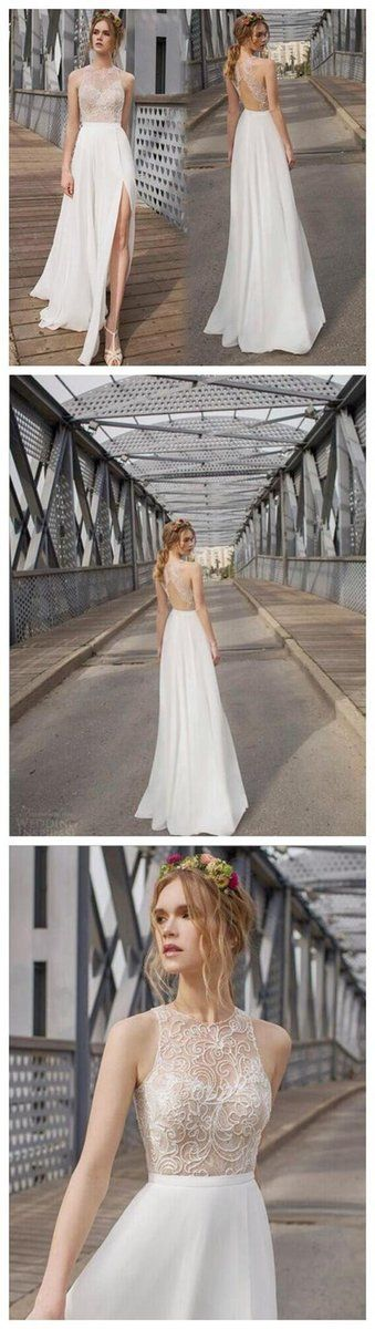 Beautiful White Side Split Charming Bridesmaid Prom Dresses, Cheap Beach Wedding Dress M3496
