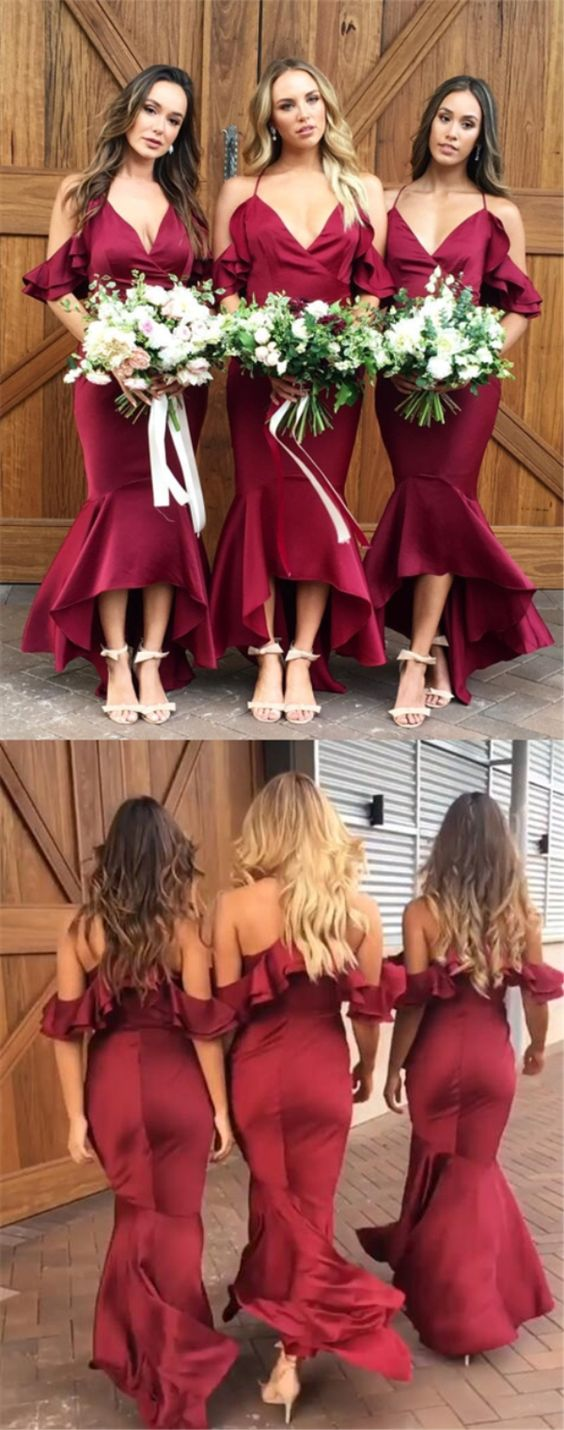 Mermaid Cold Shoulder Burgundy Bridesmaid Dress with Ruffles M4080
