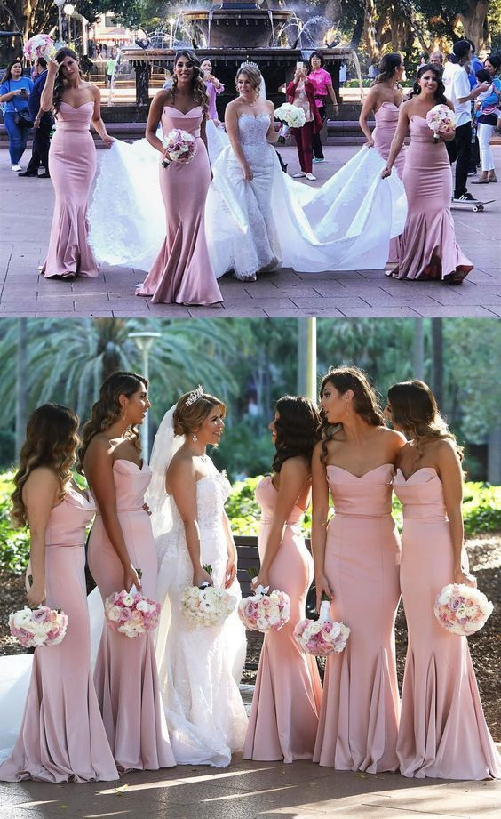 Elegant Sweetheart Mermaid Prom Dress Blush Pink Bridesmaid Dress With Sweep Train M4233