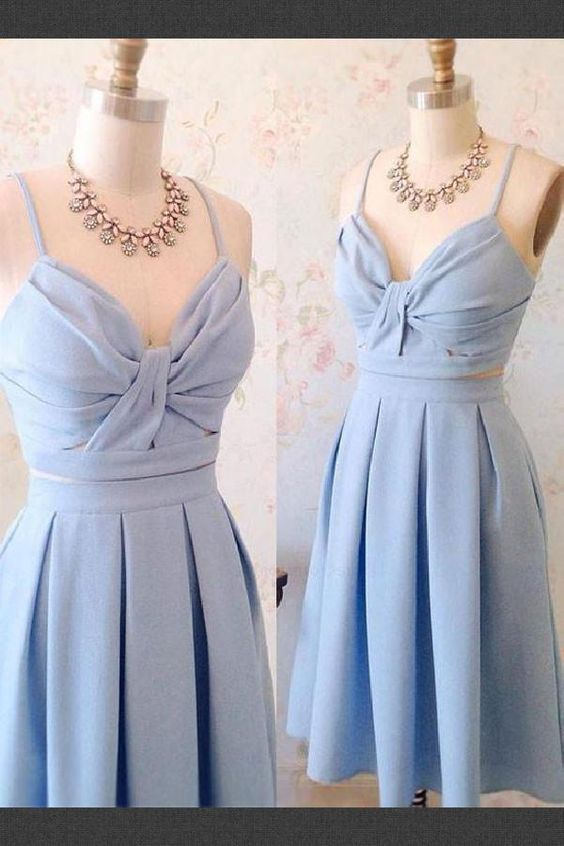 Homecoming Dresses Two Piece, Cute Homecoming Dresses, Short Prom Dress, Blue Prom Dress M4412