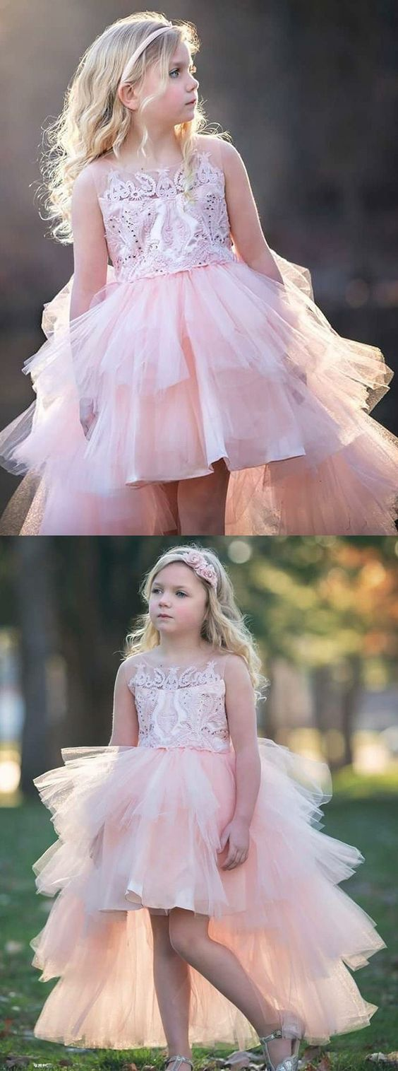 A Line Round Neck High Low Pink Tulle Flower Girl Dress With