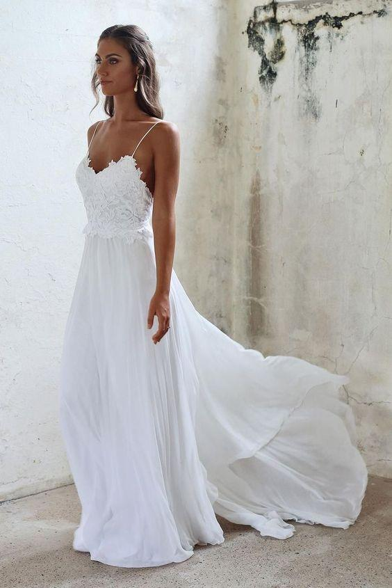 A Line Spaghetti Straps Lace Top Beach Wedding Dresses M4834