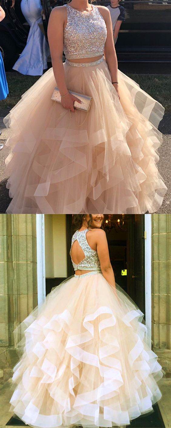 fd55e1b1 Sparkly Sequins Beaded Organza Layered Ball Gowns Prom Dresses Two Piece  M5487