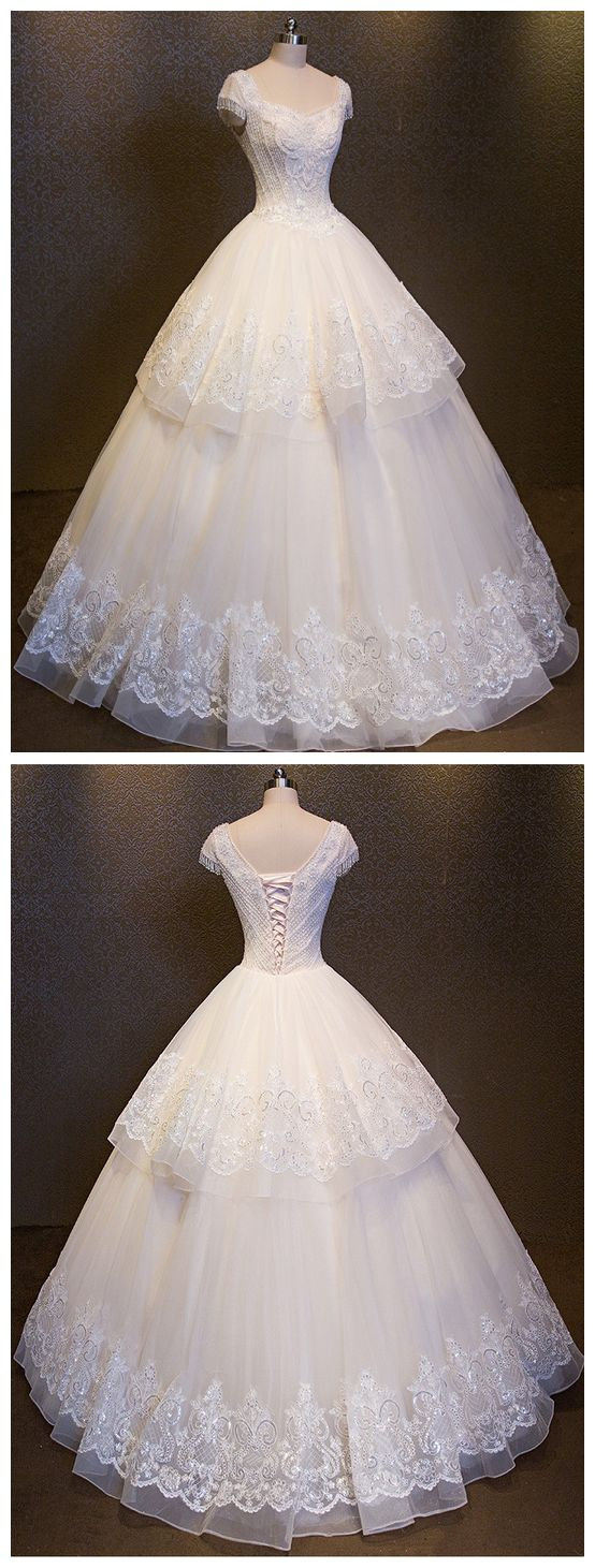 Wedding Dress Double V-neck luxury Ball Gown Collar Crystals Cap Sleeve Backless lace up Back Crystals robe de mari bridal dresses M5729