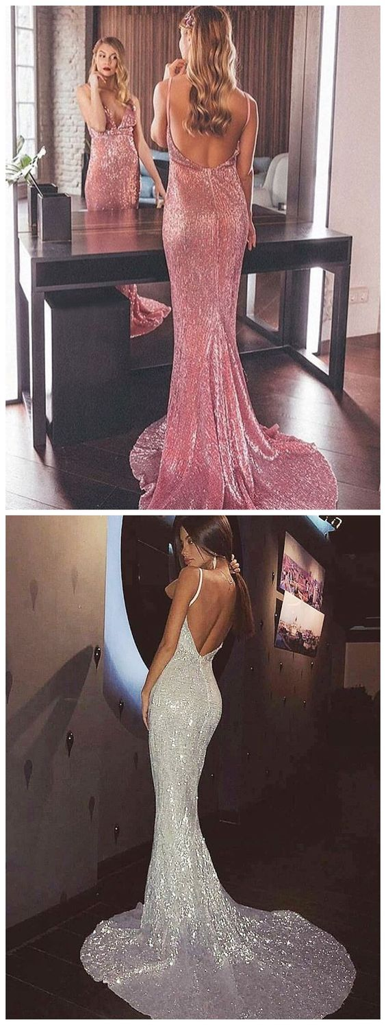 Mermaid Spaghetti Straps Backless Pink Sequined Prom Dress M5802