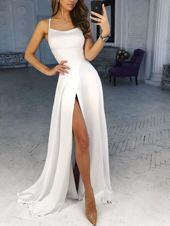 Spaghetti Strap white Split evening dress M6045