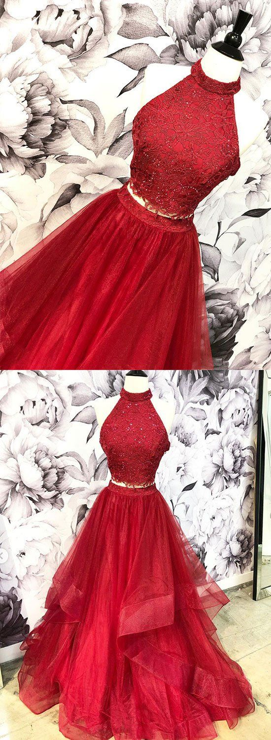 Burgundy two pieces lace long prom dress, evening dress M7074
