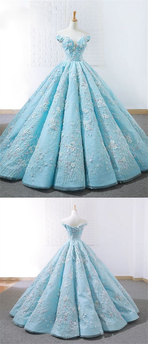Elegant Blue Off Shoulder Lace Applique Prom Dresses Long Ball Gown M8641