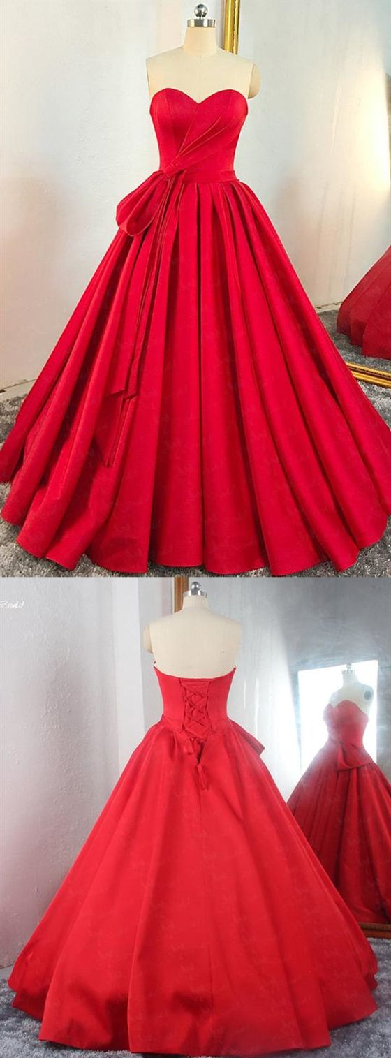 Red Sweetheart Sleeveless Long Prom Dresses A Line Satin Ball Gown M8722