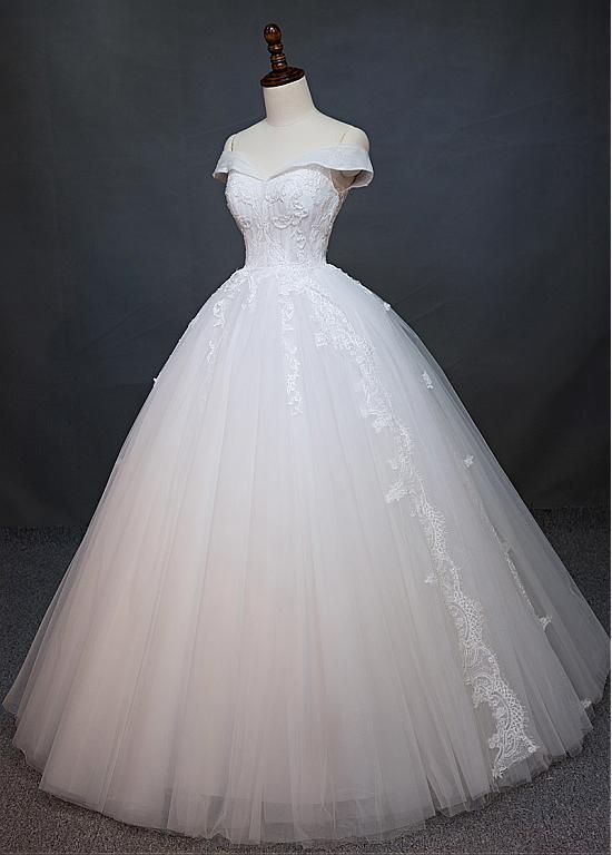 Charming Tulle Off-the-shoulder Neckline Natural Waistline Ball Gown Wedding Dress With Beaded Lace Appliques M8755