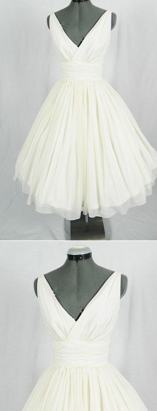 New Arrival V-Neck Ivory Simple Short Wedding Dresses,The Charming Chiffon Homecoming Dress M8790