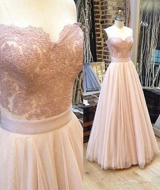 2017 New Arrival sweetheart neck tulle lace long prom dress, lace evening dress
